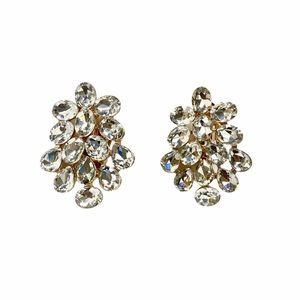 3 / $25 Gold Rhinestone Clip on Earrings